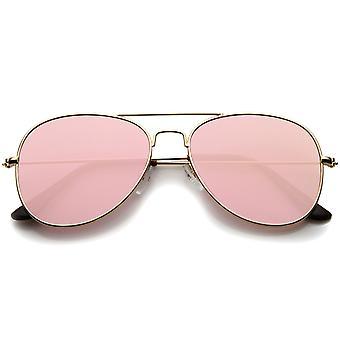 Classic Double brug gekleurde spiegel vlakke Lens Aviator zonnebril 55mm
