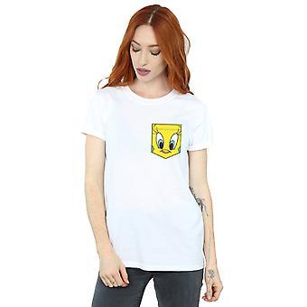 Looney Tunes Tweety Pie Gesicht Faux Pocket Freund Fit Frauenunterhemde
