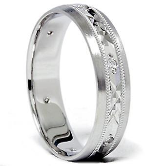 Mens 14K White Gold Swiss Cut Diamond Wedding Ring Band