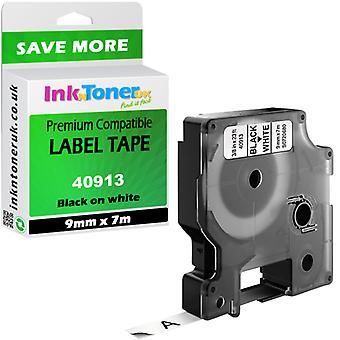 Compatibel Dymo 40913 BK op wit 9mmx7m S0720680 voor LabelManager 100