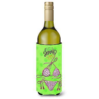 Bikini Badeanzug grüne Polkadot Wein Flasche Beverge Isolator Hugger