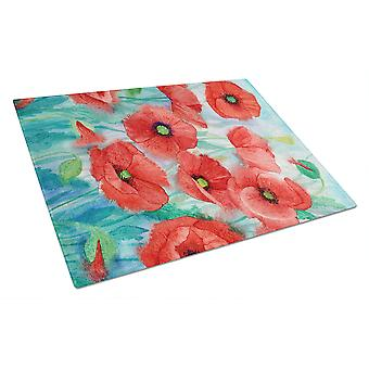 Carolines Treasures  IBD0258LCB Poppies Glass Cutting Board Large