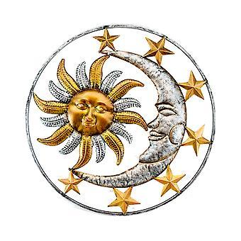 Celestial Sun Moon and Stars Indoor Outdoor 17 inch Metal Wall Hanging Sculpture