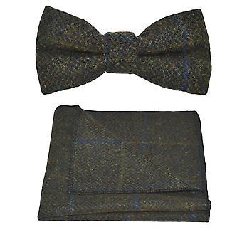 Luksusowy Juniper zielone ość wyboru muszka & placu kieszeni zestaw, Tweed