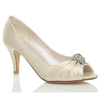 Ajvani womens casamento noite de cetim nupcial baixa gatinho calcanhar peep toe sapatos sandálias