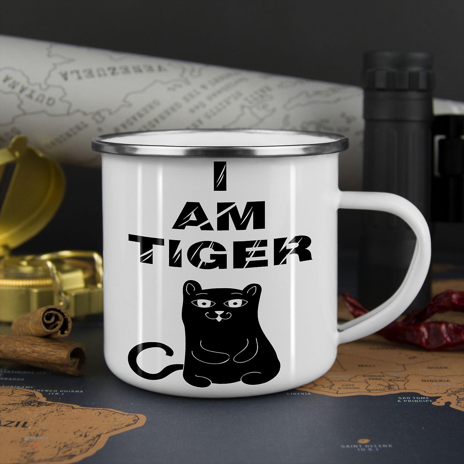 Ich bin Tiger niedliche lustige neue WhiteTea Kaffee Emaille Mug10 oz | Wellcoda
