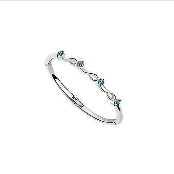Österrikiska Crystal Bracelet Bangle med himmelsblå stenar present till henne