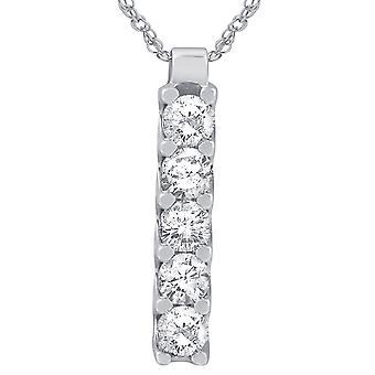 14K Weißgold 1 1 / 4ct Reise echte Diamant-Anhänger
