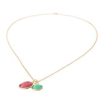 Gemshine kvinners halskjede anheng Rubin smaragd rød grønn 925 sølv 45 cm