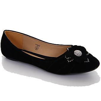 Ladies Diamante Flower Suede Effect Flats Women's Low Heel Smart Black Shoe