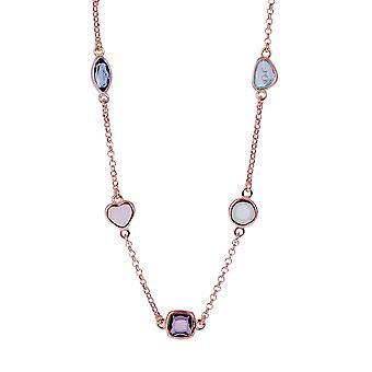 Orphelia Silver 925 halsketting Rose met veelkleurige stenen 43 CM