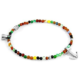 Anchor and Crew Tropic Agate Silver and Stone Bracelet - Multi-colour