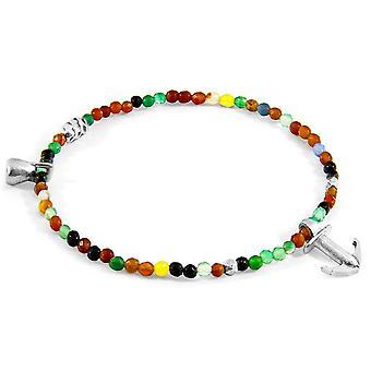 Anker und Crew Tropic Achat Silber und Stein Armband - mehrfarbig