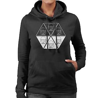Original Stormtrooper Helmet Line Art Hexagon Women's Hooded Sweatshirt