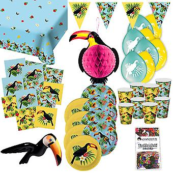 Tukan Sommer Tropical Party Partybox 49-teilig Tukanparty Partypaket