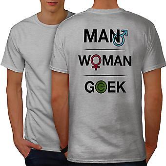 Funy Geek Power Men GreyT-shirt Back | Wellcoda