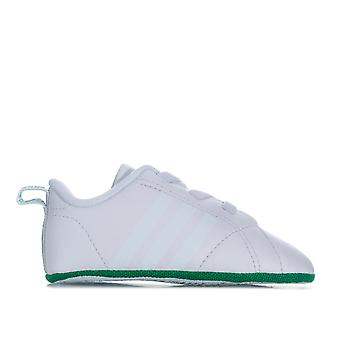 Baby adidas Vs Advantage Crib Shoes In White Green-Elasticated veters - Soft