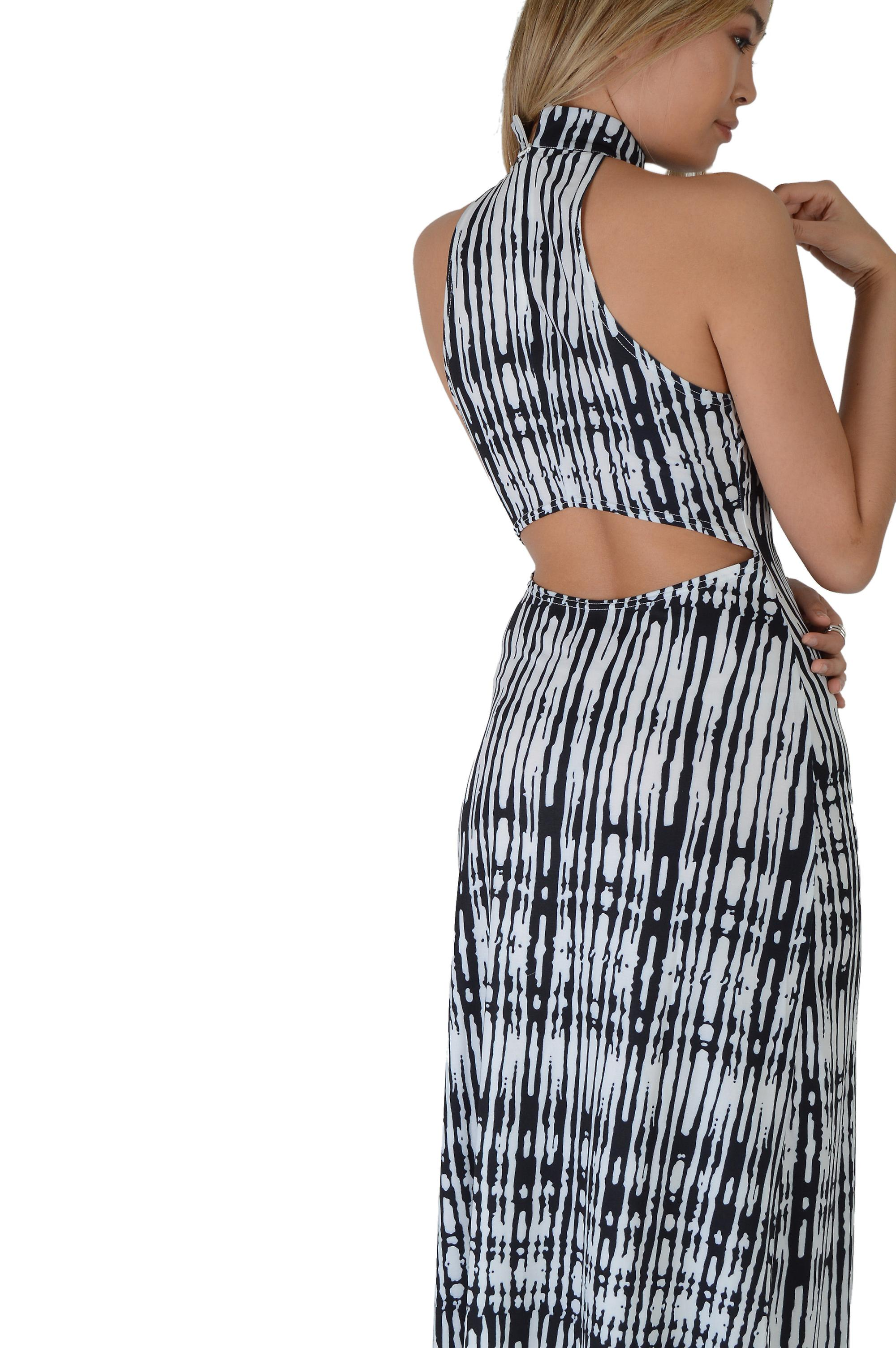 Lovemystyle Blue And White Tie Dye Maxi Dress With Open Back
