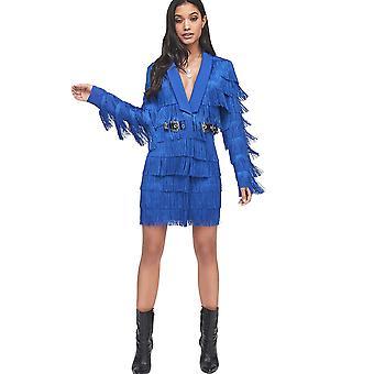 Lavish Alice Cobalt Blue Fringe Tailored Blazer Dress