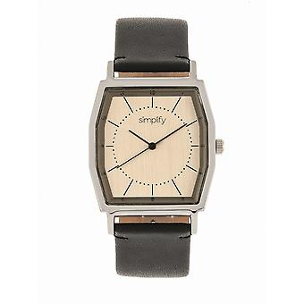 Simplify The 5400 Leather-Band Watch - Bronze/Black