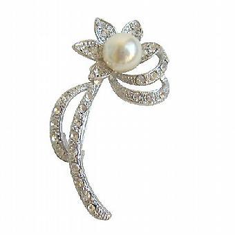 Zilver parel zonnebloem broche met duidelijke gesimuleerde diamanten gieten