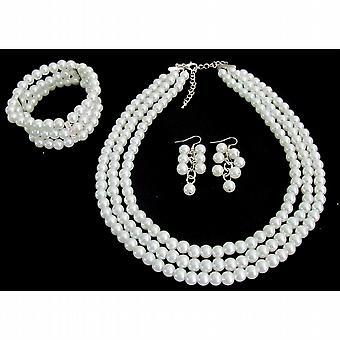 Wedding Bridal Jewelry Set Gift 3 Strand White Pearl Necklace Earrings Bracelet Jewelry