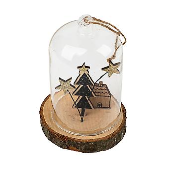 TRIXES Glass Globe Tree House Hanging Christmas Decoration