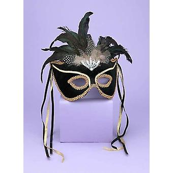 Venetian Couple Mask Bk/Gd For Adults