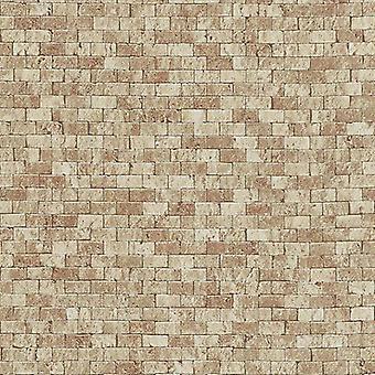 Brick Effect Wallpaper Embossed Textured Realistic Stone Slate Beige Erismann