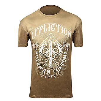 Affliction Mens Death Spade T-Shirt - Brown Lava Wash