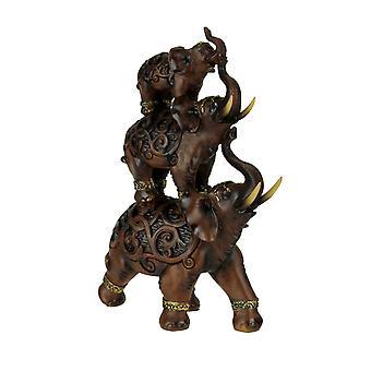 Mahogany Wood Finish 3 Stacked Elephants Statue