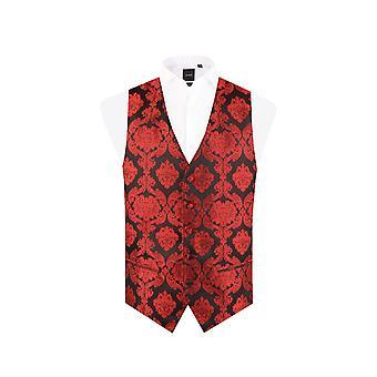 Dobell Mens Red Waistcoat Regular Fit 5 Button Victorian Jacquard Pattern