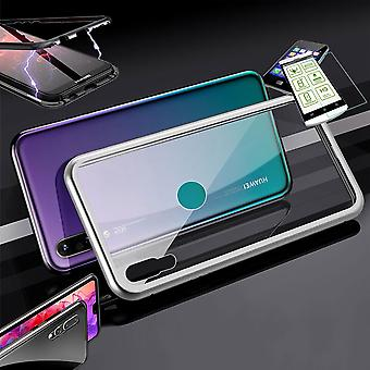 For Huawei P30 Lite magnet / metal / glass pouch case silver / transparent + 0.26 mm H9 hard glass