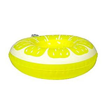 Beverage holder inflatable lemon 17x17 cm pool party drinkholder cocktail holder