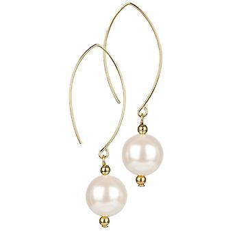 14kt Gold Filled Pearl Oval Open Earrings