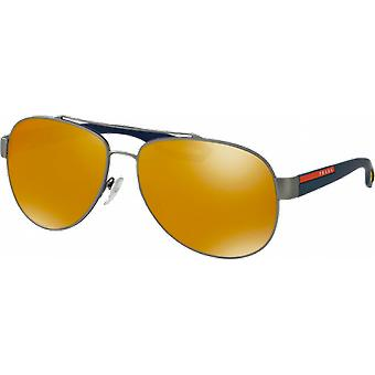 Prada SPS55Q wide Rubber Gunmetal Brown Orange 24 k Iridium