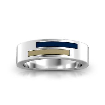 US Naval Academy Sterling Silver Asymmetric Enamel Ring In Blue and Tan