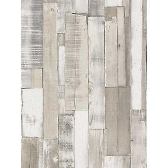 Panneau de panneau de bois Papier peint blanc Rasch 203714