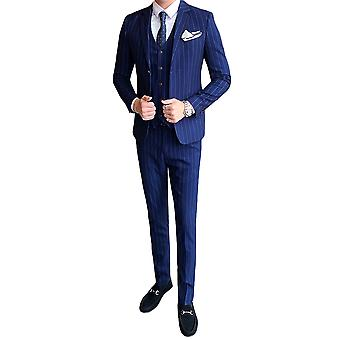 Allthemen Men's Suits Slim Stripe Four Seasons 3'lü Suit Blazer&Pants&Yelek