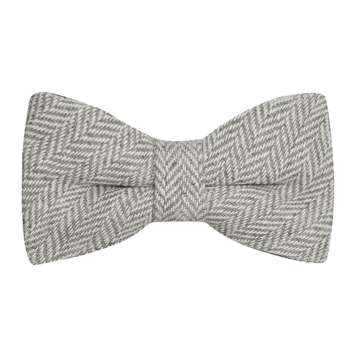 Silver Grey & Cream Herringbone Bow Tie