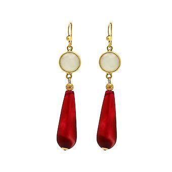 Gemshine brincos branco, vermelho ágata gemstone drop 925 prata ou banhado a ouro