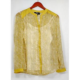 Dennis Basso Top Python Print Long Sleeve Sheer Blouse Green A263334