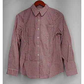liz Claiborne Top Collared Button Front Shirt Plaid Pink