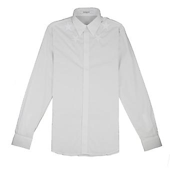 Givenchy Star Embroidered Poplin Shirt White