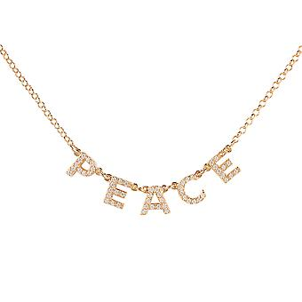 Peace Choker Necklace Rose Gold Word Letters Gift Gemstone 925 Sparkle Chain