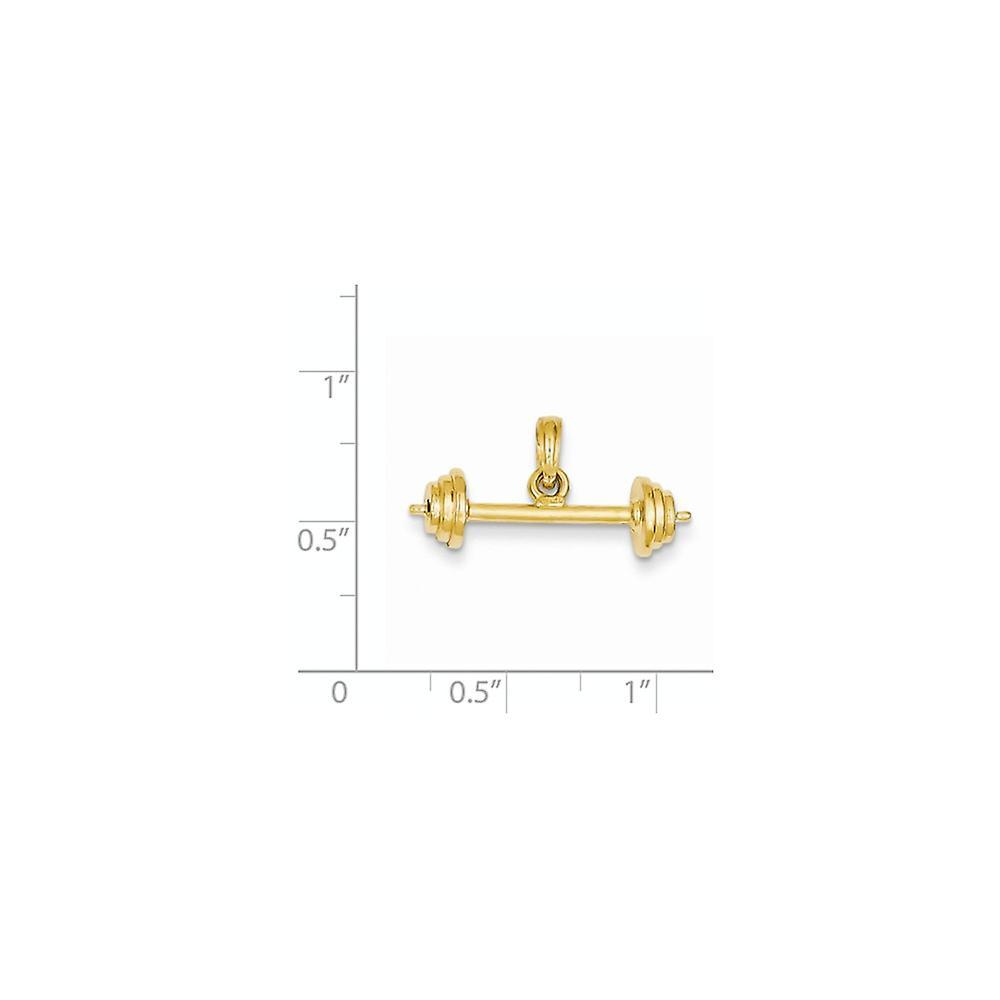 14 k Gelbgold solide poliert 3 D Langhantel Anhänger Halskette Maßnahmen 24,1x9,5 mm Schmuck Geschenke für Frauen
