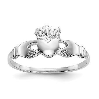 14 k oro blanco sólido pulido damas anillo de Claddagh - 1,4 gramos - tamaño 6