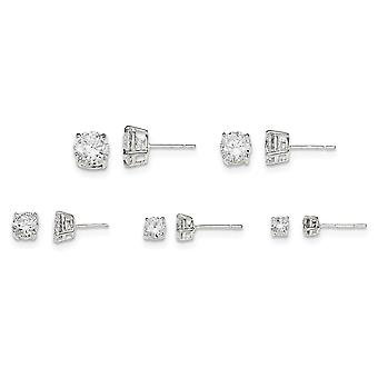925 Sterling Silver Polished White CZ Cubic Zirconia Simulated Diamond Post Set Earrings Jewelry Gifts for Women