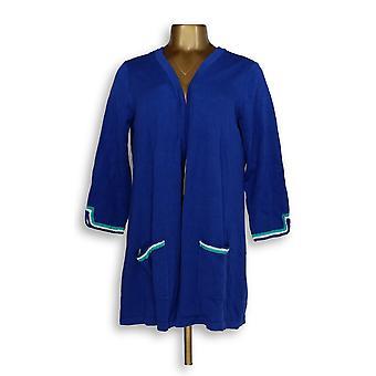 Susan Graver Femmes apos;s Sweater Cotton Rayon Cardigan Bleu A351017