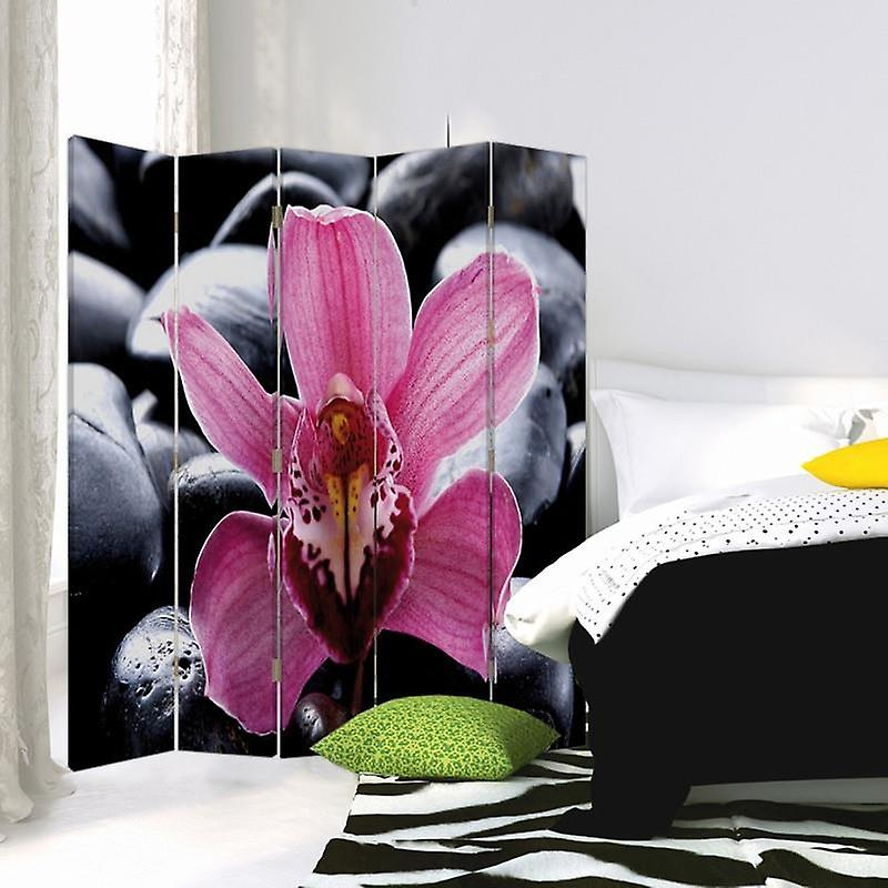 Diviseur de chambre, 5 panneaux, double-sided, Rotatable 360, toile, Zen 4